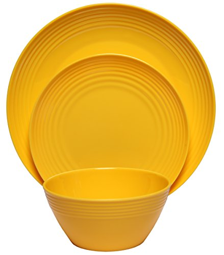 Melange 36-Piece  Melamine Dinnerware Set (Solids Collection ) | Shatter-Proof and Chip-Resistant Melamine Plates and Bowls | Color: Yellow | Dinner Plate, Salad Plate & Soup Bowl (12 (Yellow Dinnerware Collection)