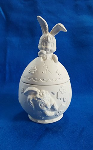 Bunny Rabbit on Easter Egg Container Clear Glazed inside Candy Dish unpainted ceramic bisque ready to be painted