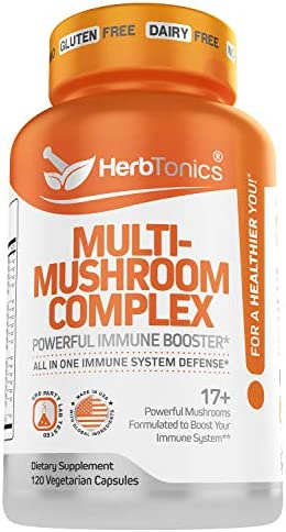 Mushroom Supplement Complex for Humans Immune System Defense Support with Lion's Mane Pills, Cordyceps, Reishi 120 Vegan Capsules Mushroom Capsules for Men and Women