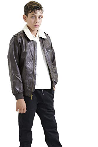 - Members Only Boys' Little Berber Lined Vegan Leather Bomber Jacket, Brown, 4