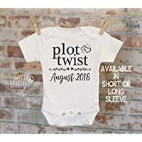 Plot Twist Pregnancy Reveal Onesie - Reveal to Husband Pregnancy Announcement Customized Bodysuit Coming Soon Gift