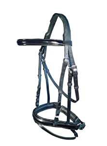 KSI Comfort Leather Patent Bridle & Reins. Available in Pony, Cob & Full Horse Size. Black & Brown Leather. (Black, Pony)