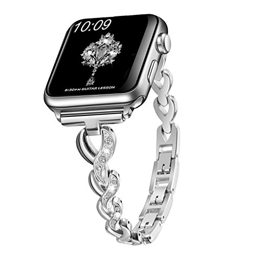 Sangaimei Watch Band Stainless Steel Band Wrist Straps with Crystal Rhinestone Diamond Compatible for Apple Watch Series 4/3/2/1/ Nike+Edition(Silver 38/40mm and White Diamond) ()