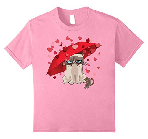 Price comparison product image Kids Grumpy Cat Raining Hearts Valentine's Day Graphic T-Shirt 10 Pink