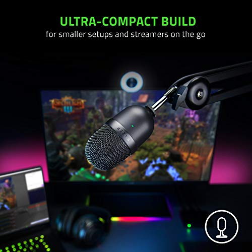 Razer Seiren Mini USB Streaming Microphone: Precise Supercardioid Pickup Pattern - Professional Recording Quality - Ultra-Compact Build - Heavy-Duty Tilting Stand - Shock Resistant - Classic Black