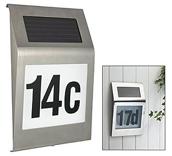 led solarhausnummer 20x30 cm edelstahl mit komplettem nummern und zahlenset beleuchtete hausnummer