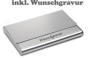 Trendiges Visitenkartenetui Visitenkartenbox Mit Gravur Graviert Aluminium Silber