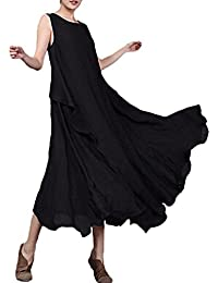 Women Linen Vintage Maxi Sleeveless Loose Swing Tank Tunic Dress Long Beach Party Dresses