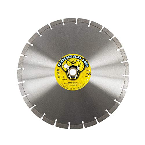 Cougar HS 14-inch (14″) X .125 X 1″-20MM Wet/Dry Diamond Blade for Concrete, Masonry, Stone, Pavers and Similar Materials