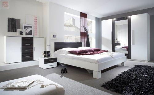 Schlafzimmer Komplettset weiss mit Absetzungen in Kernnuss dunkel