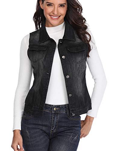 Denim Vest for Women Distressed Classic Button Sleeveless Jean Jacket Black XL ()