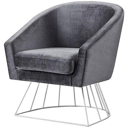 Super Amazon Com Posh Living Leo Grey Velvet Accent Chair Lamtechconsult Wood Chair Design Ideas Lamtechconsultcom