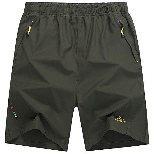 Rewalker Men's Outdoor Quick Dry Lightweight Workout Running Shorts Zipper Pockets (Army Green, ()