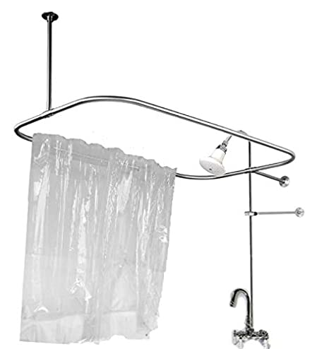 Clawfoot Tub Shower Riser.Add On Shower For Clawfoot Tub With Riser Diverter Faucet With Shower Curtain And Rings