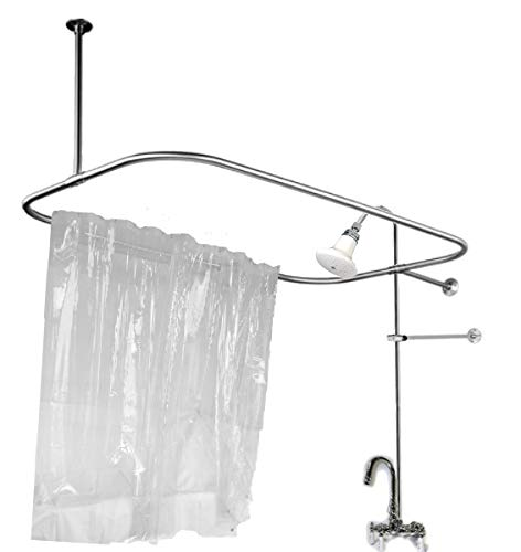 Claw Foot Add on Shower for Clawfoot Tub with Riser & Diverter Faucet and Rod and Curtain and Rings