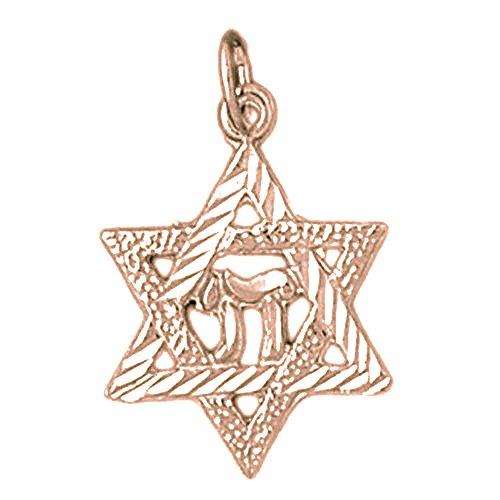 Rose Gold-plated Silver 15mm Star of David with Chai Pendant