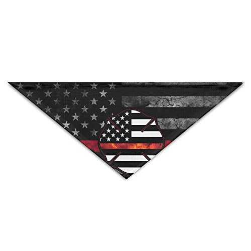 HDRAY Red Line Firefighter Dog Triangle Head Scarf Pet Bandana Collars Neckerchief
