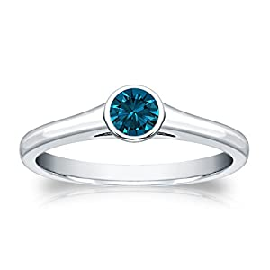 14k White Gold Bezel-set Round-cut Blue Diamond Solitaire Ring (1/4 cttw, Blue, I1-I2) Size 8