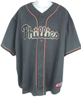 bf62bb7e96e VF Philadelphia Phillies Alternate Granite Majestic Replica Jersey Big    Tall Sizes ...