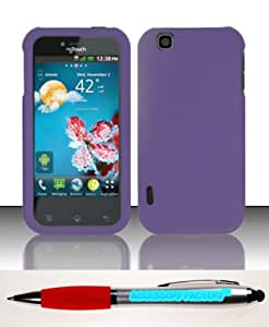 Accessory Factory(TM) Bundle (the item, 2in1 Stylus Point Pen) For LG myTouch Maxx LU9400 E739 (T-Mobile) Rubberized Case Cover Protector - Purple