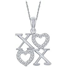 Valentine's Day Gift 1/8 cttw Round White Diamond XOXO 'Hugs and Kisses' Valentine Day Heart Pendant in Sterling Silver.