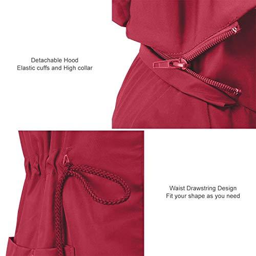 RAGEMALL Women's Raincoats Windbreaker Rain Jacket Waterproof Lightweight Outdoor Hooded Trench Coats Dark red l