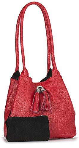 LiaTalia - Piccola borsa reversibile in morbida vera pelle scamosciata - ELLA Rosso & Nero