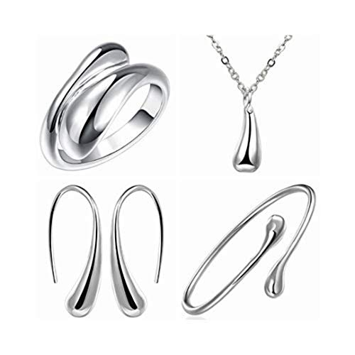 4PCS 925 Sterling Silver Jewelry Set for Women Teardrop Pendant Necklace Earrings Bracelet Ring Fit  - http://coolthings.us