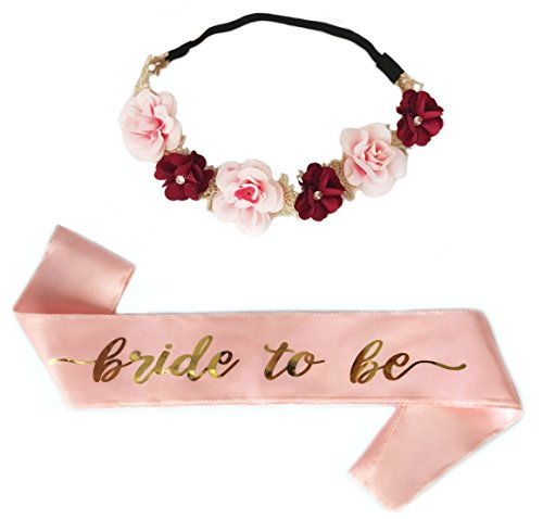 SEWEI Bride to Be Sash Flower Headband Bachelorette Bride Tribe Bridal Shower Wedding Party favor Supplies (Pink)