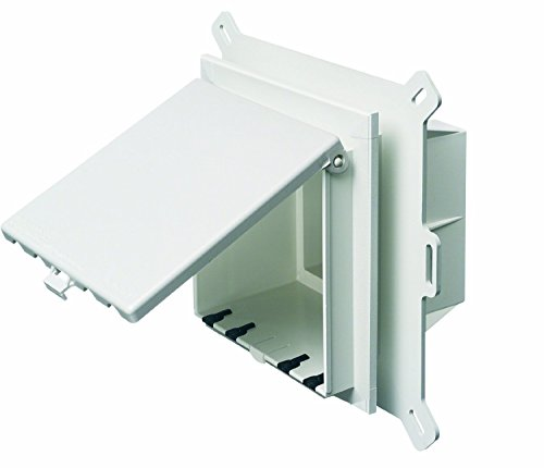 Arlington DBVS2W-1 Low Profile IN BOX Electrical Box with Weatherproof Cover for Vinyl Siding, 2-Gang, Vertical, White