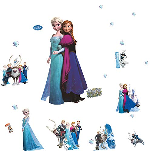 Zzmart Frozen Elsa and Anna Peel and Stick Wall Decals Stickers for Children & Kids & Baby & Nursery Wall Art Room Decor