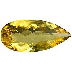 10.40 ct AAAA+ PEAR SHAPE (26 x 12 mm) BRAZILIAN GOLDEN YELLOW HELIODOR BERYL (YELLOW AQUAMARINE) GEMSTONE