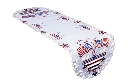 (Xia Home Fashions XD17105 Star Spangled Embroidered Cutwork Table Runner 15 by 70-Inch White)