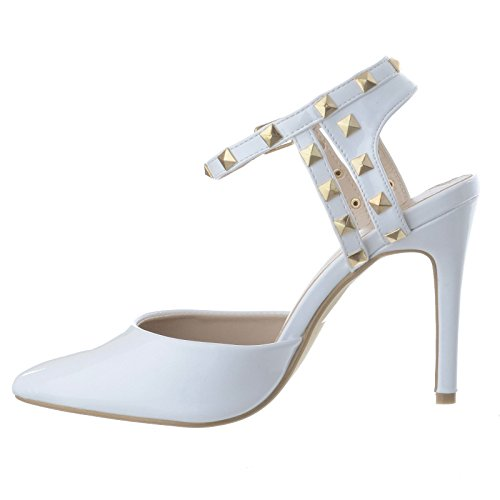 Womens Ladies Rock Stud Ankle Strap High Stiletto Heel Strappy Pointed Toe Sandals Shoes Size White Patent AzzhoBB