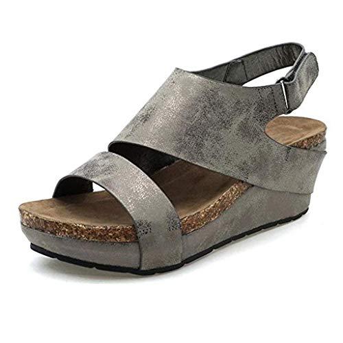 - HIRIRI Ladies Solid Color Wedges Round Toe Open-Toe Hook & Loop Platform Sandals Summer Stylish Outdoor Sandals Gray