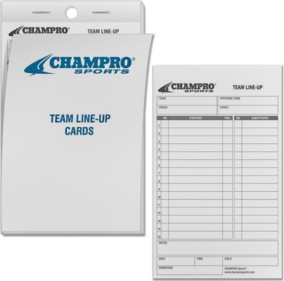 Champro 12 Set of Line-up Cards, White