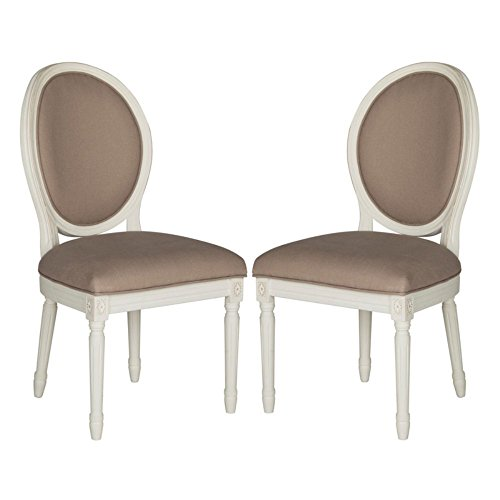 Safavieh Home Collection Holloway French Brasserie Taupe Linen & Cream Oval Side Chair (Set of 2), 19
