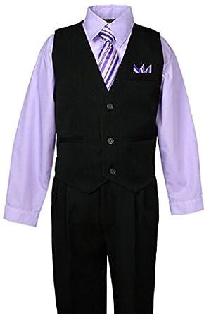 Boys Black Pinstripe Vest Suit with Custom Colored Shirt