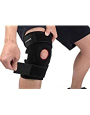 Knee Brace Support, Arespark Breathable Knee Sleeve, Elastic Compression Knee Protector for Knee Stability and Recovery Aid, Neoprene Open Patella Dual Stabilizers with Adjustable Velcro(Black)
