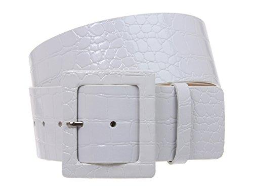"2 1/4"" Wide Ladies High Waist Croco Print Patent Leather Fashion Belt, White | L/XL - 40"