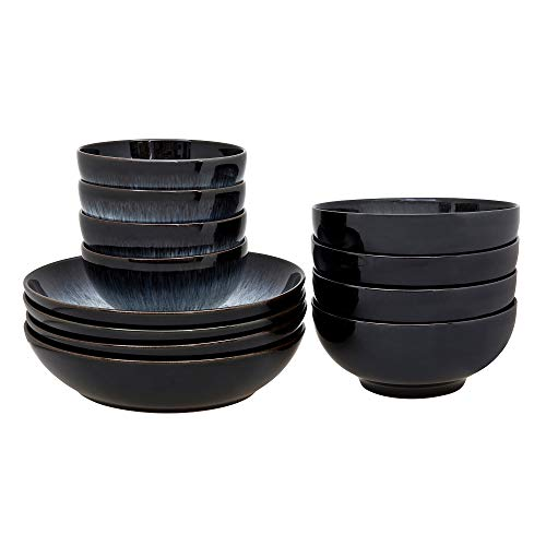- Denby Halo 12 Piece Bowl Set, Stone, Grey, 22.5 x 24 x 22 cm