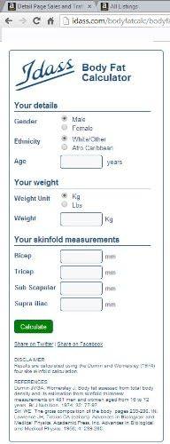 skinfold package IDASS Fitness
