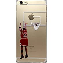 Basketball Clear Clip-On iPhone 6 and 6s Case With Your Favorite Players, Past and Present (Jordan with Basket)