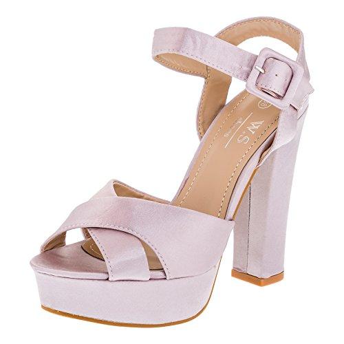 W.S Shoes Damen Sandaletten Plateau Stiletto Sandalen High Heels in Vielen Farben M364rs Rosa