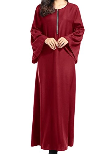 Con Vestito Del Lungo Vino donne Solido Caftano Cerniere Islamico Larghi Coolred Rosso Musulmano R5WcaZan