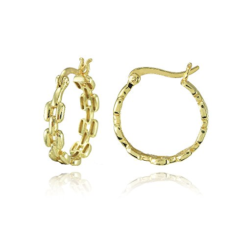 Yellow Gold Flashed Sterling Silver Square Link-Design Round Hoop Earrings