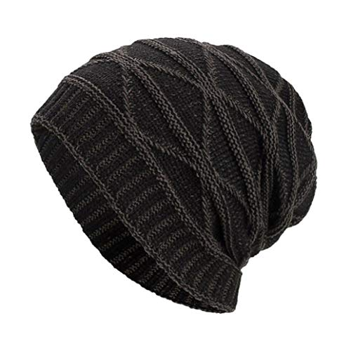 Toou Women Men Winter Wool Knit Ski Beanie Skull Caps Hat (Black)