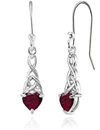 Sterling Silver Genuine, Simulated, or Created Gemstone 6x6mm Dainty Heart Celtic Knot Dangle Earrings