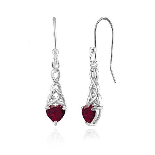 Ruby Celtic - Sterling Silver Created Ruby 6x6mm Dainty Heart Celtic Knot Dangle Earrings