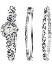 Clastyle Strass Silver Damklockor Elegant Armbandsur i Rostfritt Stål